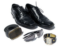 Guy stuff!. Landscape photo of a collection of male fashion accesories stock photography