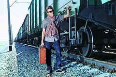 Guy with suitcase Stock Photos