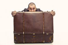 Guy with suitcase Royalty Free Stock Photos