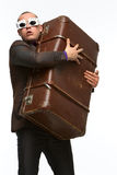 Guy with suitcase Royalty Free Stock Photography