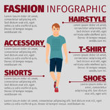 Guy in summer clothes fashion infographic Royalty Free Stock Photos
