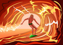 The guy surf. The guy riding on the wave Stock Image