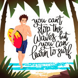 The guy - surfer running with a surfboard. Vector illustration. Beautiful summer background with palm trees, the sea and the beach. You can not stop the waves Royalty Free Stock Images