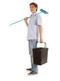 Guy with sweep brush and bucket Stock Photos
