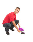 Guy with sweep brush and dustpan Stock Image