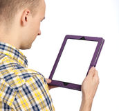 Guy with the tablet computer Royalty Free Stock Images