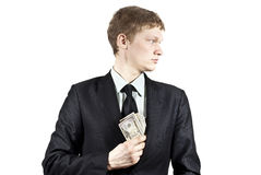 Guy takes a bribe Royalty Free Stock Photography