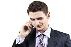 The guy talking on the phone on the background Stock Images