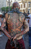 Guy tattooed in scary costume in Zombie Walk Sao Paulo Stock Image