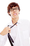 Guy tearing off his tie Stock Photos