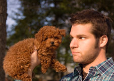 Guy With Tiny Puppy. An image of an attractive guy looking at a cute puppy he's holding Royalty Free Stock Photo