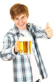 Guy toasting with a glass of beer Stock Photo
