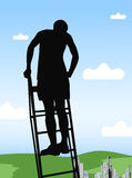 The guy at the top of the ladder Stock Photo