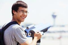 Guy with tourist binoculars Stock Image