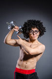 Guy trains with dumbells on white royalty free stock photos