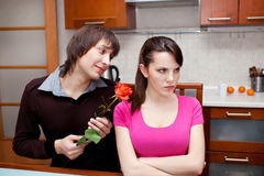 Guy tries to reconciliation with the girl Stock Photo