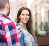 Guy trying to get acquainted with  girl Royalty Free Stock Photos