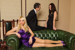 Guy and two girls Stock Photography