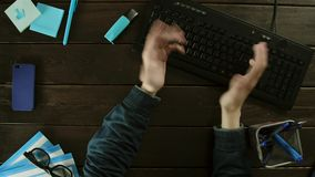 The guy typing on a keyboard on PC, but the button does not work. stock footage