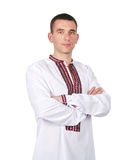 Guy in Ukrainian embroidered shirt Royalty Free Stock Images