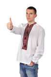 Guy in Ukrainian embroidered shirt Royalty Free Stock Photos