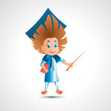 Guy university graduate with pointer - vector illustration Royalty Free Stock Photo