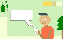 Guy uses Mobile App with Great Enthusiasm and Eagerness. stock illustration