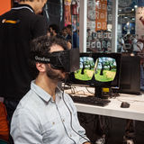 Guy with virtual reality headset at Games Week 2013 in Milan, Italy Royalty Free Stock Photo
