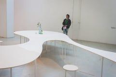Guy visiting Ventura Lambrate space during Milan Design week Stock Photo