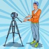 Guy Vlogger Recording Video élégant Illustration d'art de bruit Photo stock