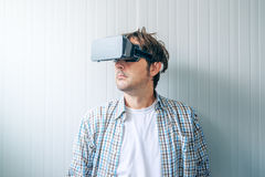 Guy with VR goggles Royalty Free Stock Photography