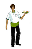 Guy in waiter uniform illustration Stock Image