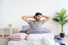 Guy is waking up Royalty Free Stock Photography