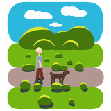 The guy is walking with a dog. Royalty Free Stock Photos