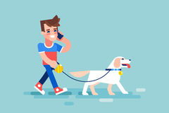 Guy walks his dog and talking on phone. Vector. Stock Photography