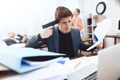 The guy wants to commit suicide. stock photo