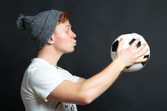 The guy wants to kiss ball Stock Photo