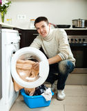 Guy  with washing machine Stock Image