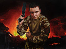 Guy with the weapon Stock Image