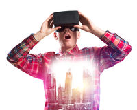 Guy wearing checked shirt and virtual mask demonstrating shock or surprise Stock Images