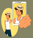 Guy wearing hat is taking selfie. Handdrawn vector Royalty Free Stock Photos