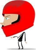 Guy wearing a motor helmet. Some sort of wiseguy with a big head wearing a motor helmet Royalty Free Stock Images
