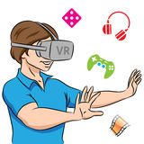 Guy Wearing a Virtual Reality Headset Stock Image