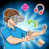 Guy Wearing a Virtual Reality Headset Stock Photography