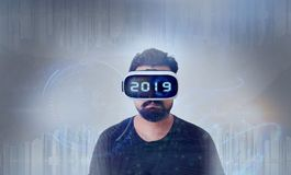 Guy wearing VR Virtual Reality glasses -  2019 Royalty Free Stock Photos
