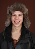 Guy wearing winter hat Royalty Free Stock Images
