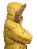 Guy wearing a yellow winter jacket Stock Photos