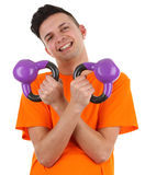 Guy with weights stock images