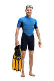 Guy in a wetsuit with snorkeling equipment. Full length portrait of a guy in a wetsuit with snorkeling equipment isolated on white background Royalty Free Stock Photo