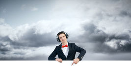 Guy with white billboard Stock Photography